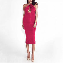 Load image into Gallery viewer, Maternity Solid Color Round Collar Sleeveless Midi Dress