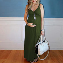 Load image into Gallery viewer, Maternity Solid Color Maxi Dress