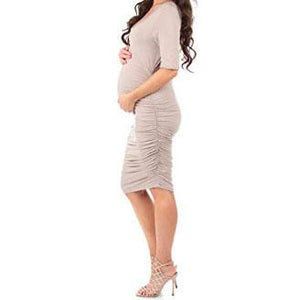 Solid Color Round Collar Maternity Dress
