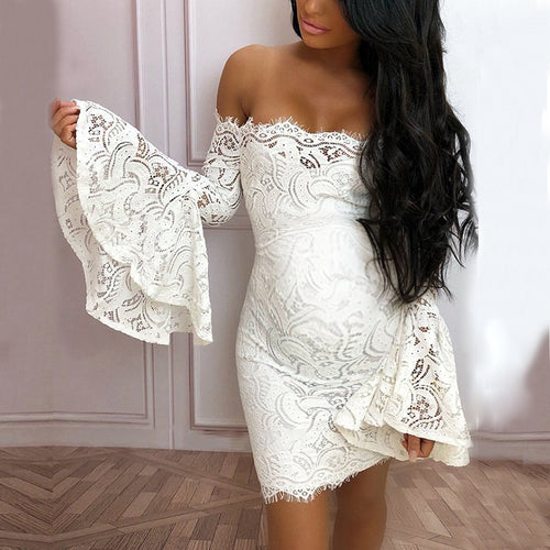 Maternity Off The Shoulder Lace Flare Sleeve Dress