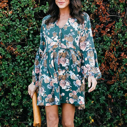 Maternity Long Sleeve Floral Casual Dress
