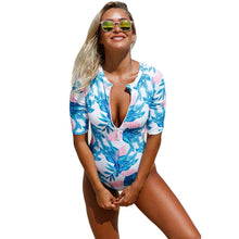 Load image into Gallery viewer, Pregnant Women Printed Round Neck Short-Sleeved High-Waist One-Piece Swimsuit