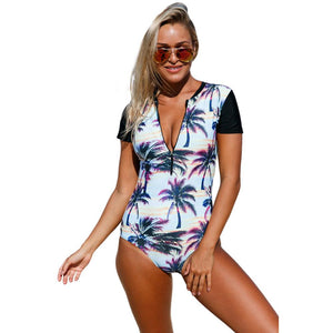 Pregnant Women Printed Round Neck Short-Sleeved High-Waist One-Piece Swimsuit