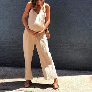Maternity Solid Color Loose Overalls
