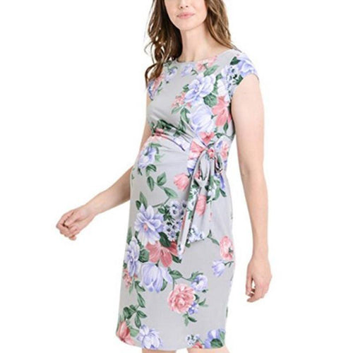 Maternity Round Neckline Printed Bodycon Knee-Length Dress