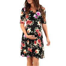 Load image into Gallery viewer, Printed Maternity Dress With Mid-Sleeve Band