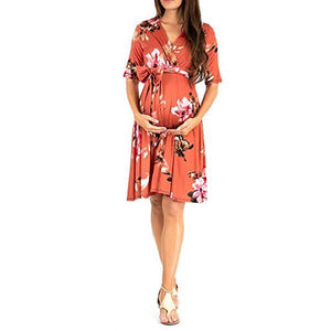 Printed Maternity Dress With Mid-Sleeve Band