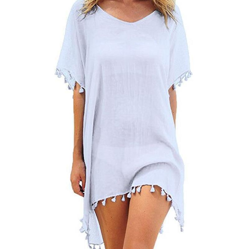 Maternity Plain Tassel Beach Blouse