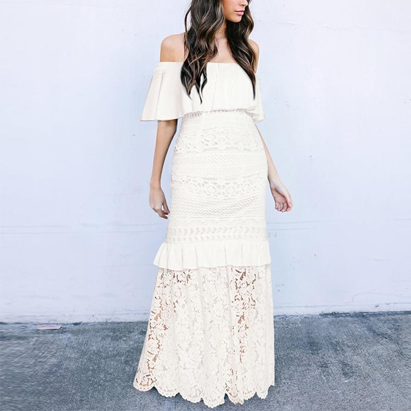 Maternity Off The Shoulder Ruffle Lace Patchwork Dress