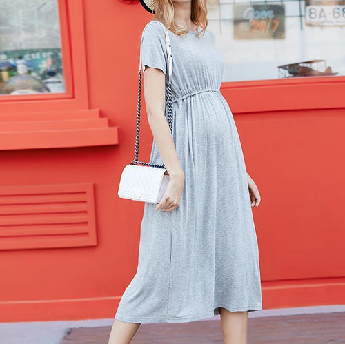 Maternity  Pure Color Loose Dress