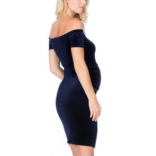 Load image into Gallery viewer, Maternity Solid Color Off Shoulder Casual Dress