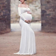 Load image into Gallery viewer, Maternity Solid Color Off Shoulder Long Sleeve Photo Props Gown