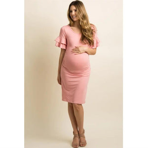 A Long Maternity Dress With Flounces, Flared Sleeves And A Round Collar