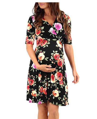 Maternity Floral Print V-Neck Dress