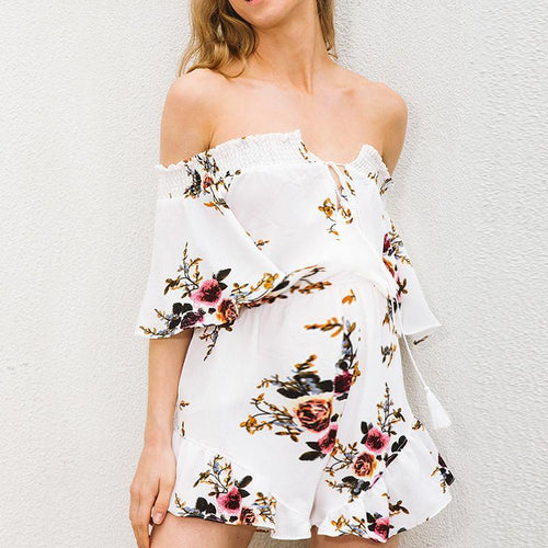 Maternity Printed Off The Shoulder Chalaza Romper