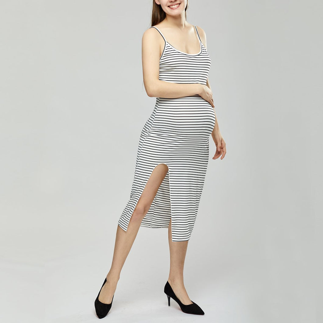 Maternity Spaghetti Strap  High Slit  Striped  Sleeveless Maxi Dresses