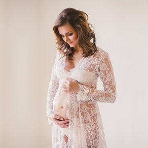 V-Neck Maternity Lace Photo Dress