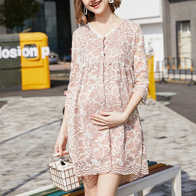Maternity Lace Long-Sleeved Dress Fashion Hot Mom
