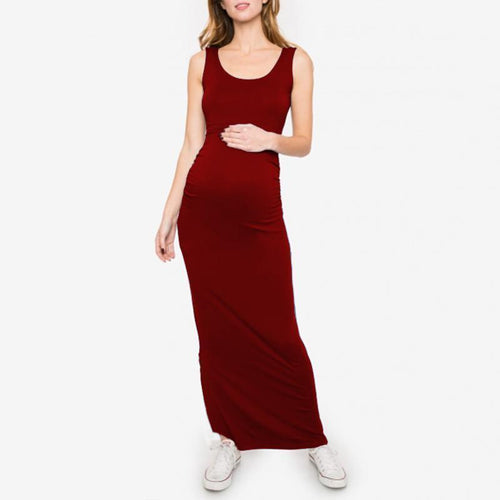 Maternity O-Neck Sleeveless Ankle-Length Dress