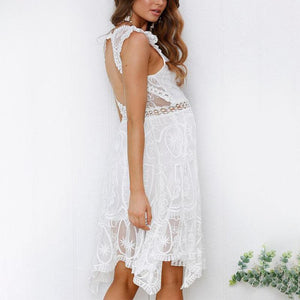 Maternity Deep V-Neck Sleeveless Lace Backless Dress