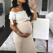 Load image into Gallery viewer, Maternity Long Sleeve Band Sexy Wrap Buttock Two - Piece Dress