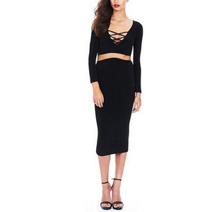 Maternity Long Sleeve Band Sexy Wrap Buttock Two - Piece Dress