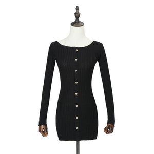 Maternity Single-Breasted One-Neck Long Sleeve Casual Dress