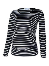 Load image into Gallery viewer, Striped Tight-Fitting Bag Hip Round Side Elastic Long-Sleeved Maternity Dress