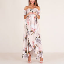 Load image into Gallery viewer, Maternity Printed Off The Shoulder Maxi Dress