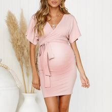 Load image into Gallery viewer, Maternity V-Neck Lacing Plain Daily Dress 3 Colors