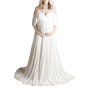 Maternity Solid Color V-Neck Short Sleeve Photo Props Gown