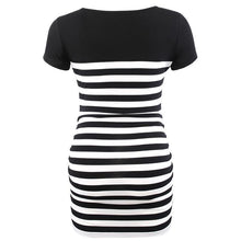 Load image into Gallery viewer, Maternity O-Neck Stripe Patchwork Short Sleeve T-Shirt