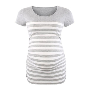 Maternity O-Neck Stripe Patchwork Short Sleeve T-Shirt