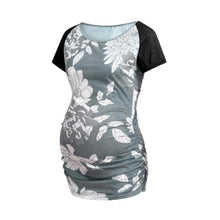 Load image into Gallery viewer, Maternity Stitching Printed Short Sleeves T-Shirt