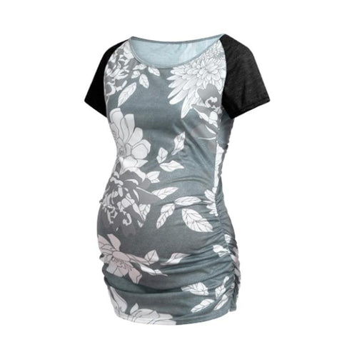 Maternity Stitching Printed Short Sleeves T-Shirt
