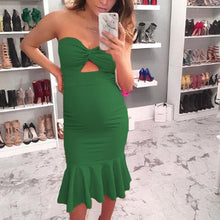 Load image into Gallery viewer, Maternity Strapless Solid Color Bodycon Midi Dress