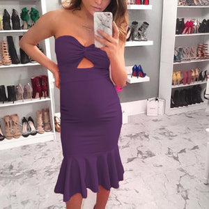 Maternity Strapless Solid Color Bodycon Midi Dress