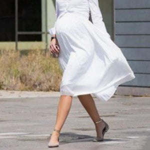 Maternity Solid White Chiffon Skirt