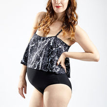 Load image into Gallery viewer, Maternity Sexy One-Piece Swimsuit With Flounce Collar And Sexy Marble Print