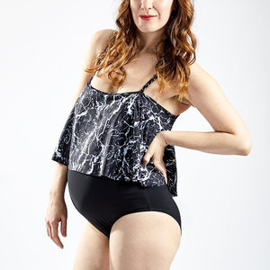Maternity Sexy One-Piece Swimsuit With Flounce Collar And Sexy Marble Print