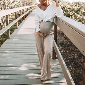 Maternity Solid Color V-Neck Long Sleeve T-Shirt
