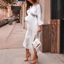 Load image into Gallery viewer, Maternity Solid Color V-Neck Long Sleeve Midi Dress