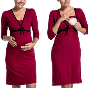 Maternity Feeding & Nursing 3/4 Sleeve Dress