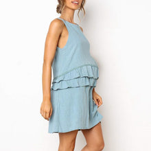 Load image into Gallery viewer, Maternity O-Neck Sleeveless Plain Ruffle Daily Dress