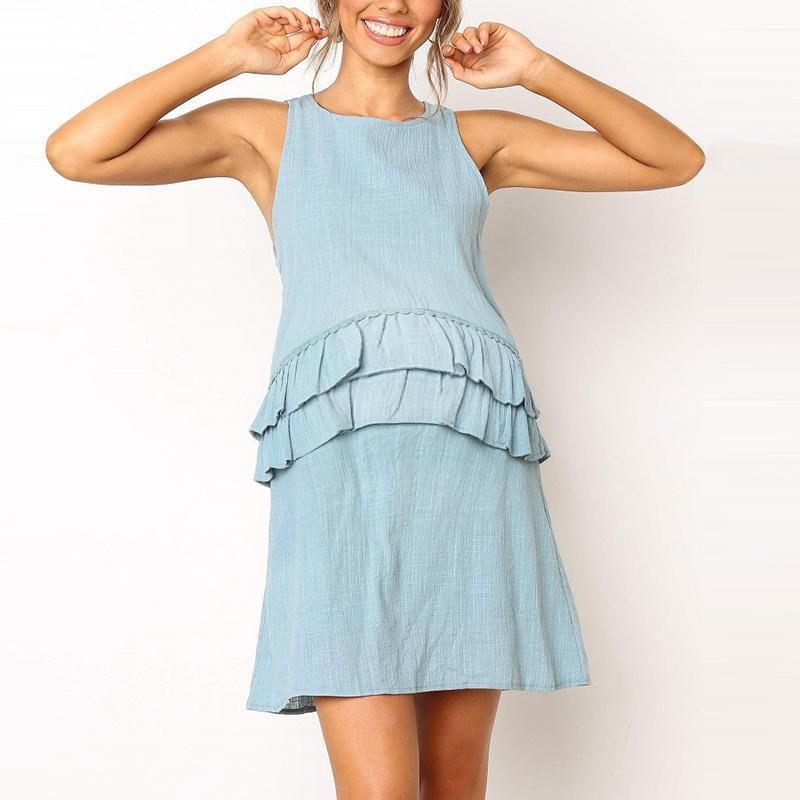 Maternity O-Neck Sleeveless Plain Ruffle Daily Dress