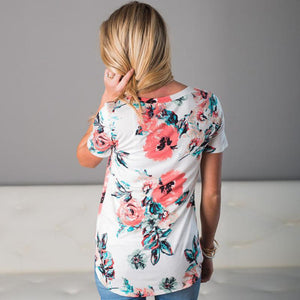 Maternity Round Neckline Printed Short Sleeve T-Shirt