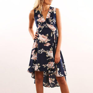 Maternity V-Neck Sleeveless Asymmetric Print Dress