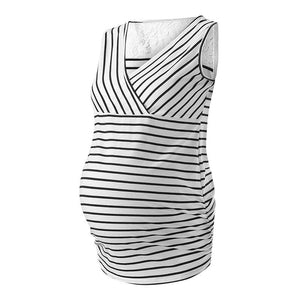 Maternity Lace Patchwork Stripe V Neck Sleeveless Tops