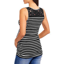 Load image into Gallery viewer, Maternity Lace Patchwork Stripe V Neck Sleeveless Tops