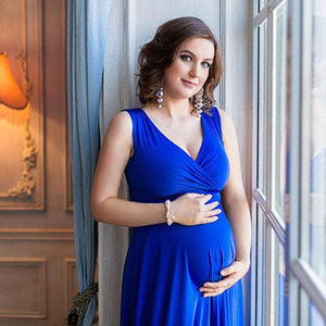 Pregnant V-Neck Sleeveless Women Casual Sexy Evening Dress